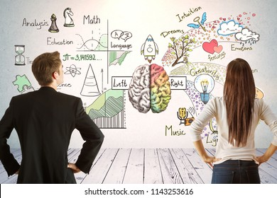Man and woman in interior with business sketch. Plan and finance concept