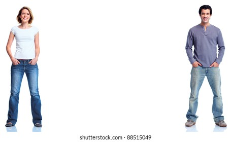 Man and woman. isolated on white background.