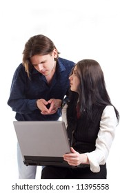 The man and the woman with a laptop. A white background