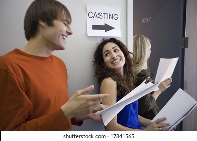 Man and woman in line for casting