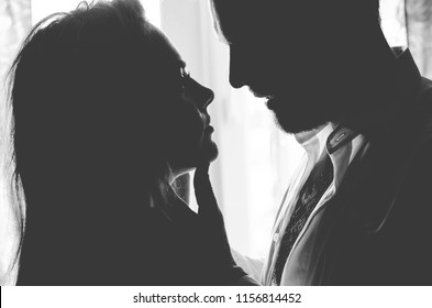 man with woman, in love eyes, kisses