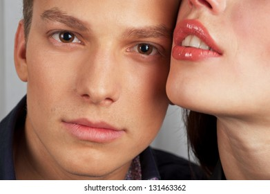 man and woman - lovers closeup portraits