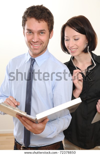 Man and Woman Meeting Business