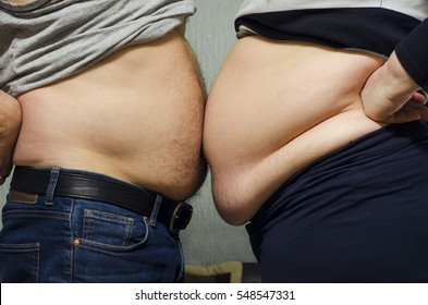 Man and woman, obese couple