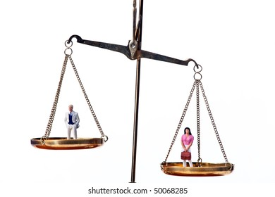 Man and woman on scale.Symbol for equality