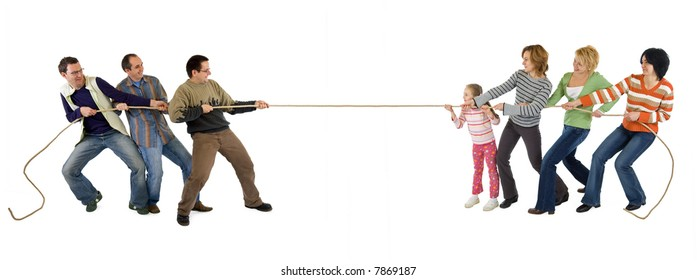 Man and woman playing tug of war - isolated