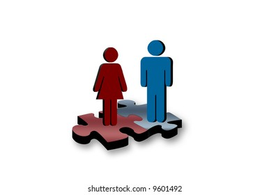 Man and woman problem solving together