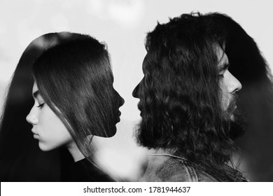 Man and woman profile multiple exposure portrait. Codependency and relationship