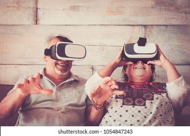 man and woman senior caucasian try new things trendy. concept modern for retired people happy and enjoyed.