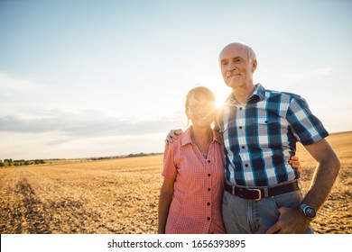 Man and woman, a senior couple, embracing each other still being in love