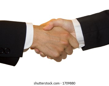 A man and woman shake hands behind a solid white background.  Perfect to integrate into any design.