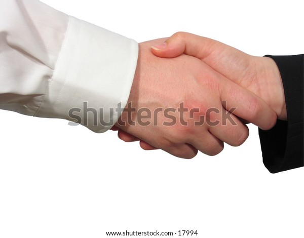 A man and a woman shake their hands.