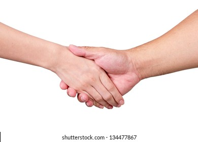 A man and woman shaking hands in agreement, with clasped hands.