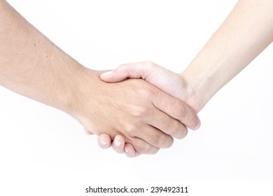 Man and woman shaking hands, isolated on white. Concept successful business, deal between people on white background