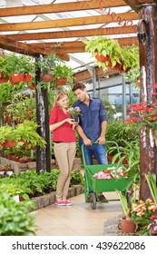 Man and woman shopping together for flowers in a garden center