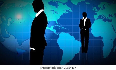 Man and woman showing  teamwork in busines concept