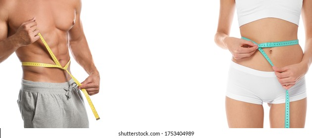 Man and woman with slim bodies on white background, closeup. Banner design