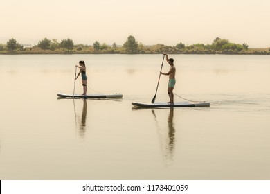 Man and woman stand up paddleboarding on lake. Young couple are doing watersport on lake. Male and female tourists during summer vacation.