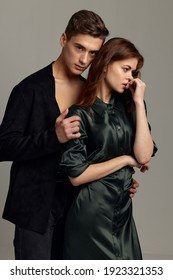 Man and woman stand side by side together embrace romance style friendship Sensual