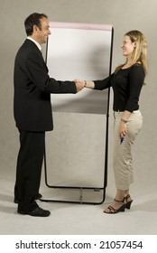 A man and a woman are standing in front of a large presentation board.  They are smiling at each other and shaking hands.  Vertically framed shot.