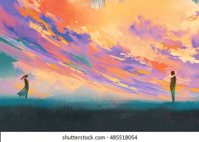 man and woman standing opposite of each other against colorful sky,illustration painting