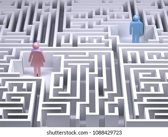 man and woman symbols in the labyrinth maze, 3d illustration