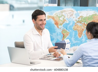 Man and Woman Travel Agency Concept