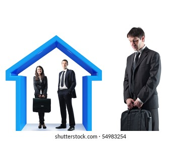 man and woman under 3d house with sad businessman standing