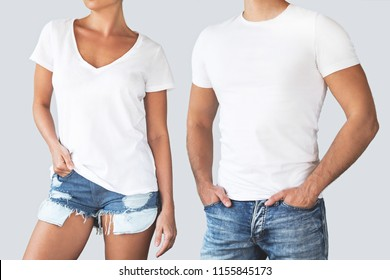 Man and woman wearing a white cotton shirt with empty space for your text or logo isolated on gray background