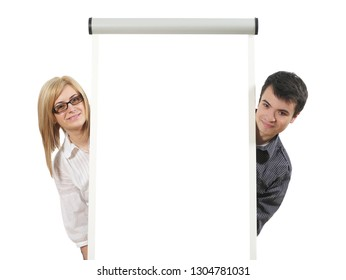 Man and woman with whiteboard