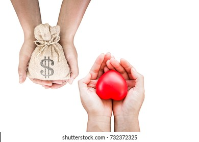 Man and women hand hold a money bag and red heart redeemed together with clipping path and copy space on white background, Health insurance concept.