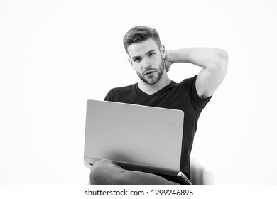 Man work on laptop. Man run trade business. Business before pleasure. Shopping addict shopping online. Shopping addiction. Online learner study using technology. Online education without leaving home.