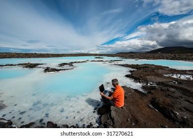 Man at work, Reykjavik, Iceland