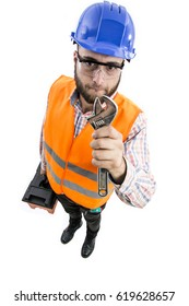 Man worker worker with attitude on white background