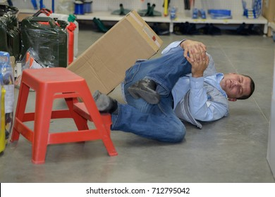 man worker with knee injury concept of accident at work