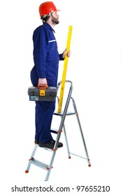 Man, worker on the ladder,  isolated on white