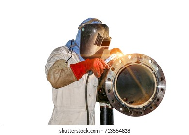 Man worker welder at the factory by arc welding pipe isolated on white background