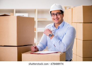Man working in box delivery relocation service