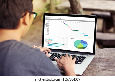 Man working with excel project dashboard on laptop / computer at the park / outdoor
