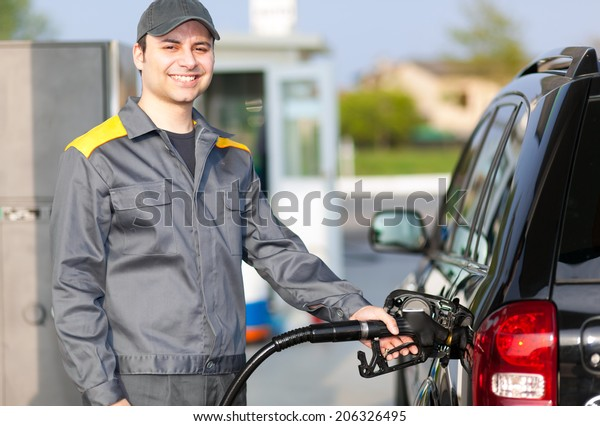 Man working at the gas station