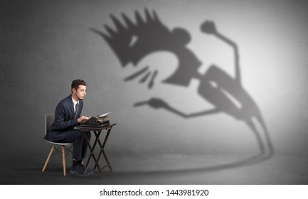 Man working hard and he is afraid of a yelling shadow
