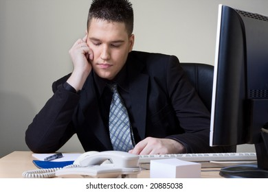 man working at his office
