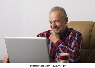 Man working at the laptop in the office