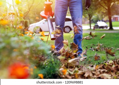 Man working with  leaf blower: the leaves are being swirled up and down on a sunny day