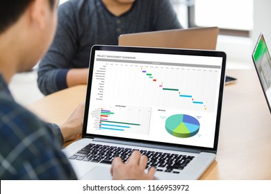 Man working with management project dashboard on laptop at the office