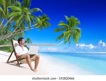 Man working on the beach.