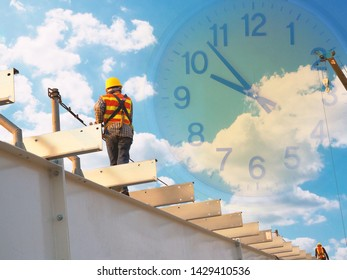 Man Working on the Working at height with blue sky