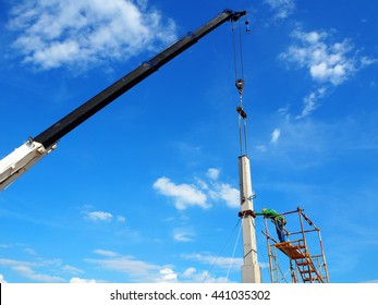 Man Working on the Working at height with scaffolding