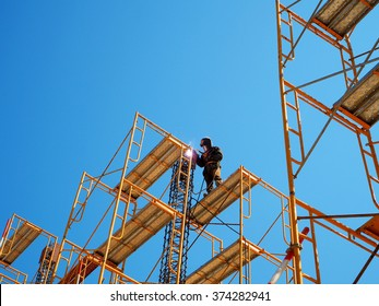 Man Working on the Working at height,Welding work