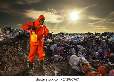 Man working on the landfill